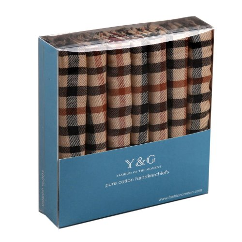 ly Brown Checkers Anniversary Presents 7 Pic Hankies Mens Cotton Handmade Gift Giving By Y&G ()