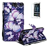 Funyye Strap Magnetic Flip Case for Huawei P20,Elegant 3D Purple Butterfly Fantasy Painted Design Folio Wallet Pocket with Stand Credit Card Holder Slots Soft Silicone PU Leather Case for Huawei P20
