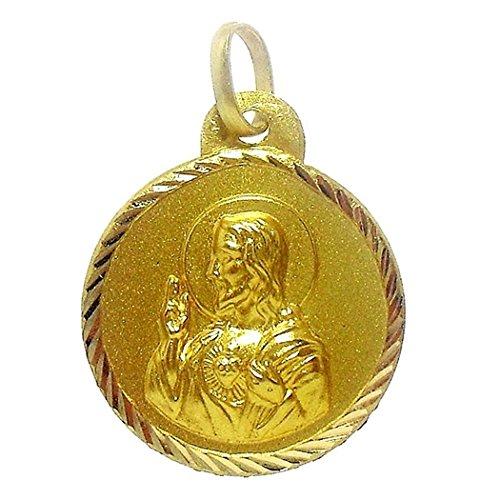 18k médaille d'or Virgin Brown Scapulaire Sacré-Coeur de Jésus [4797]