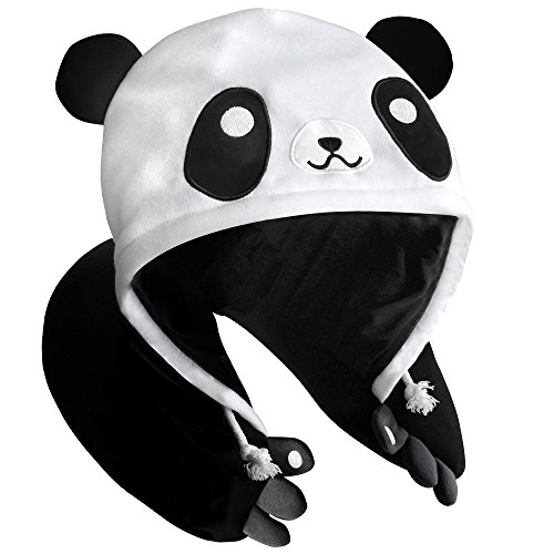 Panda Hooded Animal Plush Neck Pillow, Microbeads for Comfort with Adjustable Drawstring, Perfect For Airplane Travel, Neck Support, as a Panda costume, Gift for Panda Lovers, Designed In Japan by Chibiya