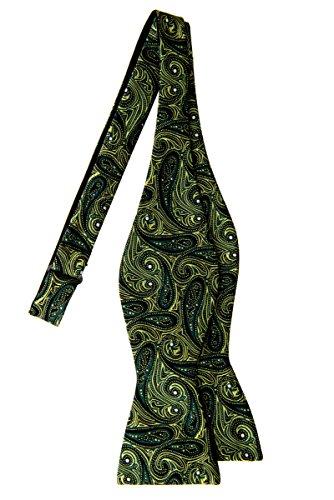 Retreez Elegant Paisley Art Pattern Woven Microfiber Self Tie Bow (Pattern Silk Bow Ties)
