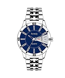 Howdy Men Analog Dial Day and Date Stainless Steel Chain Watch