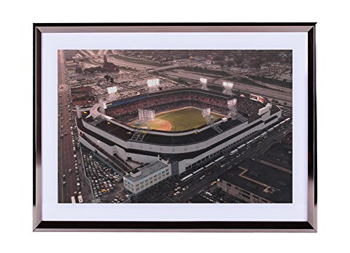 Art-Print-Wall-silvery-Wood-Framed-Picture-Old-Tigers-stadium-Detroit-MI-20x14-inches