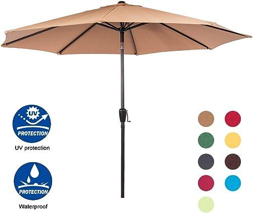 Sundale Outdoor 9 Feet Aluminum Market Umbrella Table Umbrella with Crank and Auto Tilt for Patio, Garden, Deck, Backyard, Pool, 8 Alu. Ribs, 100 Polyester Canopy, Tan