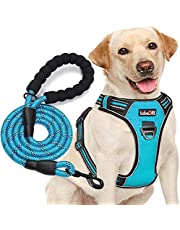 """tobeDRI No Pull Dog Harness Adjustable Reflective Oxford Easy Control Medium Large Dog Harness with A Free Heavy Duty 5ft Dog Leash (L (Chest: 25.5""""-31""""), Blue Harness+Leash)"""