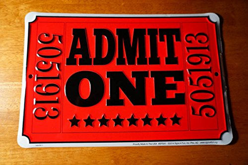 Log Cabin Lodge Admit One Movie Theater Concert Ticket Sign Entertainment Room Home Decor