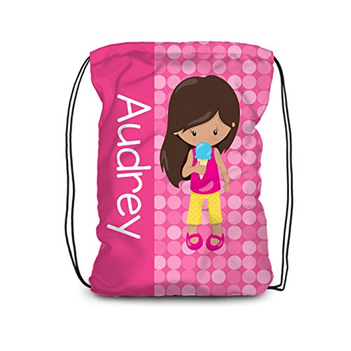 Pink Ice Cream Dots - Ice Cream Drawstring Backpack - Pink Dots Girl Ice Cream Personalized Name Bag