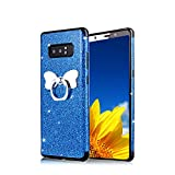 Funyye Bling Glitter Sparkle Rubber Case for Samsung Galaxy Note 8,Luxury 360 Degree Rotating Grip Butterfly Ring Stand Holder Anti-Scratch Ultra Thin Soft Silicone TPU Durable Case for Samsung Galaxy Note 8 + 1 x Free Screen Protector,Blue