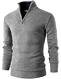 Mens Casual Slim Fit Pullover Sweaters Mock Neck Zip up Various Patterned