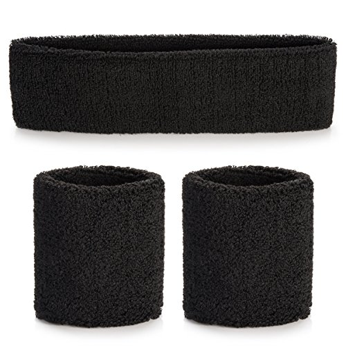 ONUPGO Sweatband Headband Wristbands Set, Cotton Striped Sweatband Set for Running, Cycling, Tennis, Football, Basketball or More (Football Wristband)