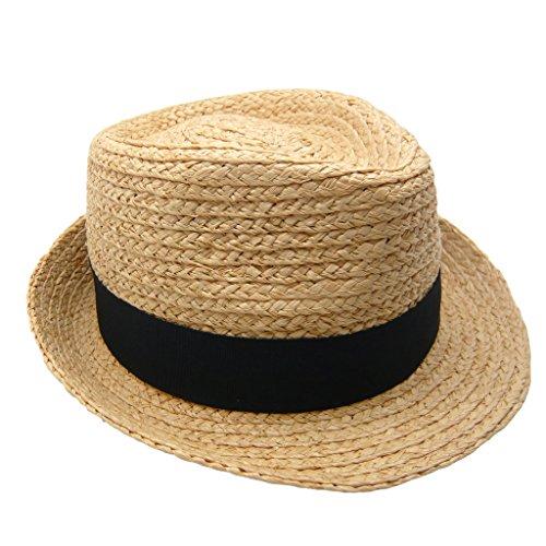 HATsanity Unisex Naturale Raffia Rafia Cannuccia Cappello Fedora Hat