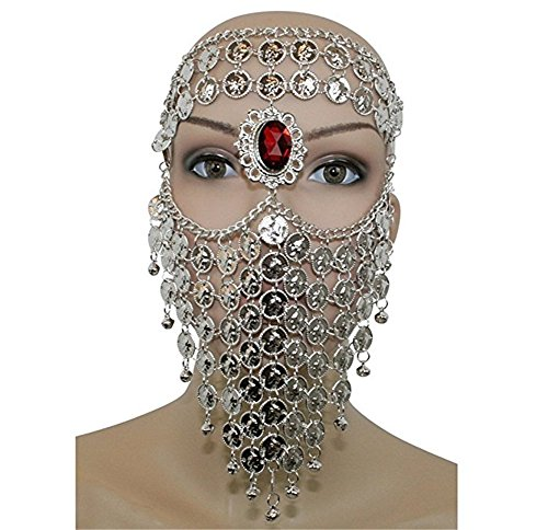ZYZF Red Gem Belly Dance Egyptian Halloween Costume Headwear Coins Face Mask Veil Tribal Bedouin Burka Burqa Metal Head Chain (Silver)