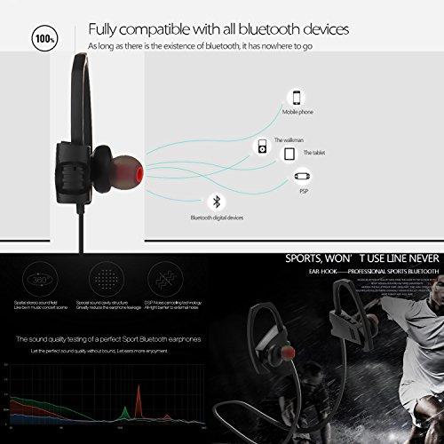 Auriculares Bluetooth de coio,Auricular inalámbrico Bluetooth 4.1 Auriculares deportivos estéreo con micrófono y reducción de ruido, sudor en la oreja los auriculares para correr gimnasio entrenamient Negro