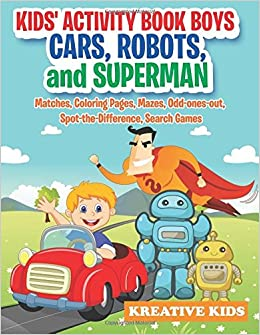 Kids Activity Book Boys Cars Robots And Superman