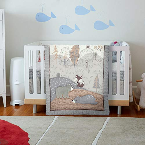 Malak Baby Crib Bedding Set 3 Pieces Grey Bear/Owl Jungle Animals Toddler Crib Bedding for Boys & Girls