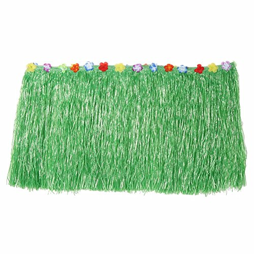 Table Skirt Luau Hawaiian Party - by KBS, Grass Hibiscus Decoration Flowers Colorful Green Tropical. Natural Decorations Celebration Hula. 9ft (Green)