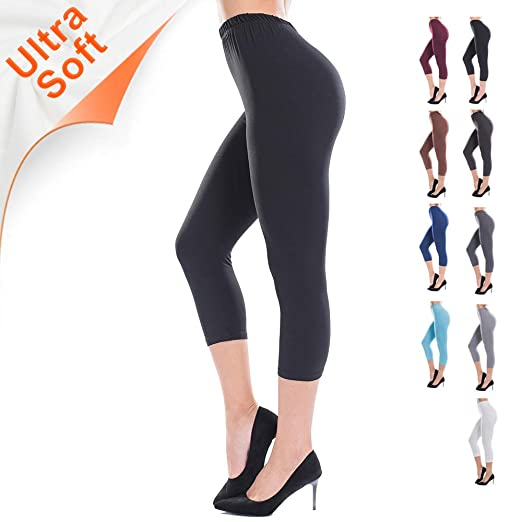 a9edf593fc0 ZEALOTPOWER Black Capri Leggings for Women Plus Size Ultra Soft High Waist  Stretchable Plus Size -