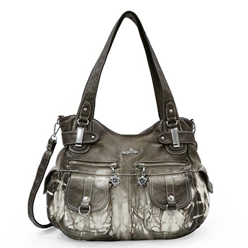 Angelkiss Women's Designer Handbag Large Double Zipper Multi Pocket Washed, 5739-1 Khaki-z