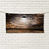 Chaneyhouse Brick Wall,Travel Towel,Dark Cracked Bricks and Ceiling Urban Lifestyle Building Modern City Theme Image,100% Microfiber,Black Red Size: W 12'' x L 27.5''