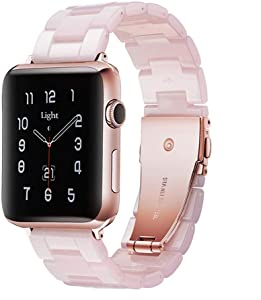 Light Apple Watch Band - Fashion Resin iWatch Band Bracelet Compatible with Copper Stainless Steel Buckle for Apple Watch Series SE Series 6 Series 5 Series 4 Series 3 Series 2 Series1 (Pink new, 42mm/44mm)
