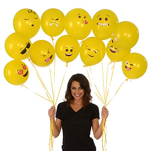 Large Product Image of Emoji Universe Series One: Latex Emoji Smiley Face Balloons 72 Pack Yellow