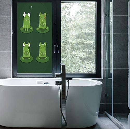 - YOLIYANA Frosted Window Film Stained Glass Window Film,Funny,Work Well in The Bathroom,Funny Muzzy Frog on Lily Pad in Pond,24''x48''
