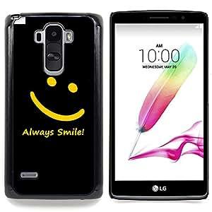 "Qstar Arte & diseño plástico duro Fundas Cover Cubre Hard Case Cover para LG G4 Stylus H631 MS631 H635 H540 H630D H542 (Smiley amarillo Negro Siempre Sonrisa Mensaje"")"