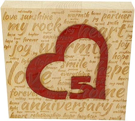 5th Wedding Anniversary Word Art Beech Block With 5 Year Acrylicheart 5th Anniversary Ornament Amazon Co Uk Kitchen Home