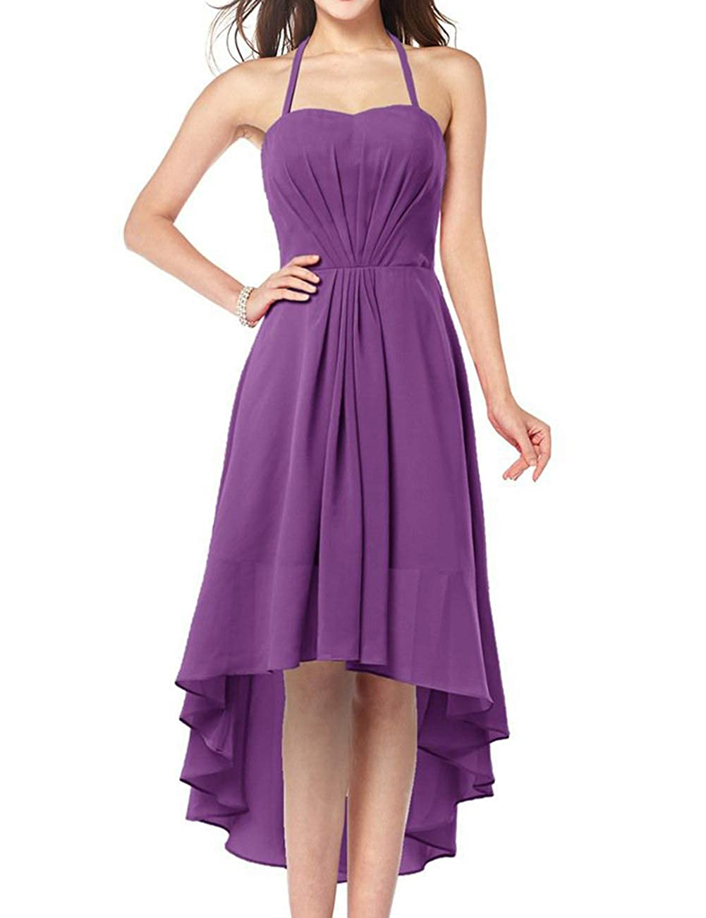 Purple Uther Plus Size Bridesmaid Dresses Long Aline Halter Hi Lo Evening Prom Party Gown