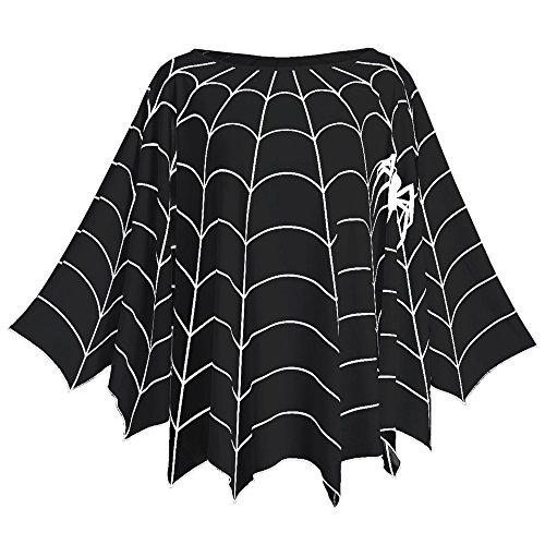 CHARMMA New Women's Plus Size Long Sleeve Spider Web Printed Poncho Top Blouse (Black, One Size)