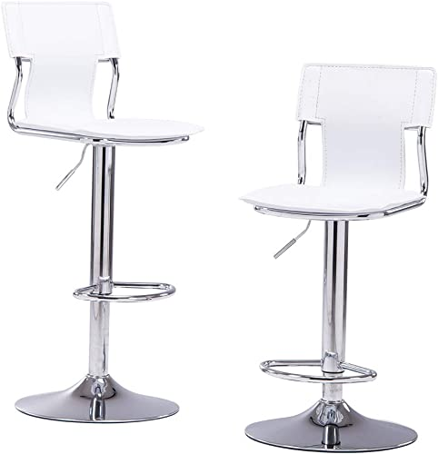 Sidanli White Adjustable Swivel Counter Bar Stool Chair