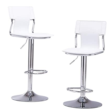 Amazoncom Sidanli White Adjustable Swivel Counter Bar Stool Chairs