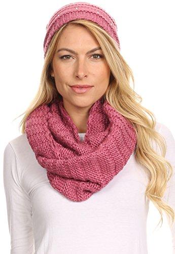 Sakkas 16141 - Sayla Rhinestone Jewel Soft Warm Woven Cable Knit Beanie Hat And Scarf Set - Rose - ()