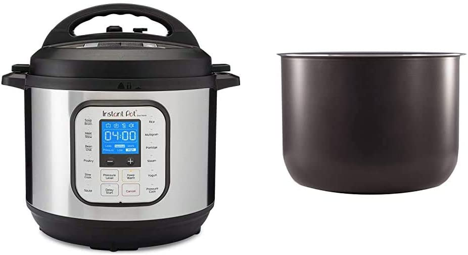 Instant Pot Duo Nova 7-in-1 Electric Pressure Cooker, Sterilizer, Slow Cooker, Rice Cooker, Steamer, Saute, Yogurt Maker and Warmer, 8 Quart, 14 One-Touch Programs & 8 Quart Ceramic Pot