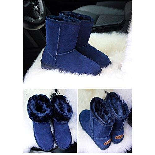 Invernali Scarpe Neve Fexkean Calde Stivali Pelliccia da Stivali Boots blu Donne Donna Leather Impermeabile xagYZ