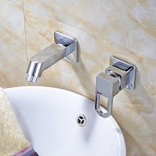 U-Enjoy Bestes Design Single Top-Qualität Griff Zwei Löcher Waschbecken-Mischer-Hahn-Chrom Wandmontage [Kostenloser Versand]