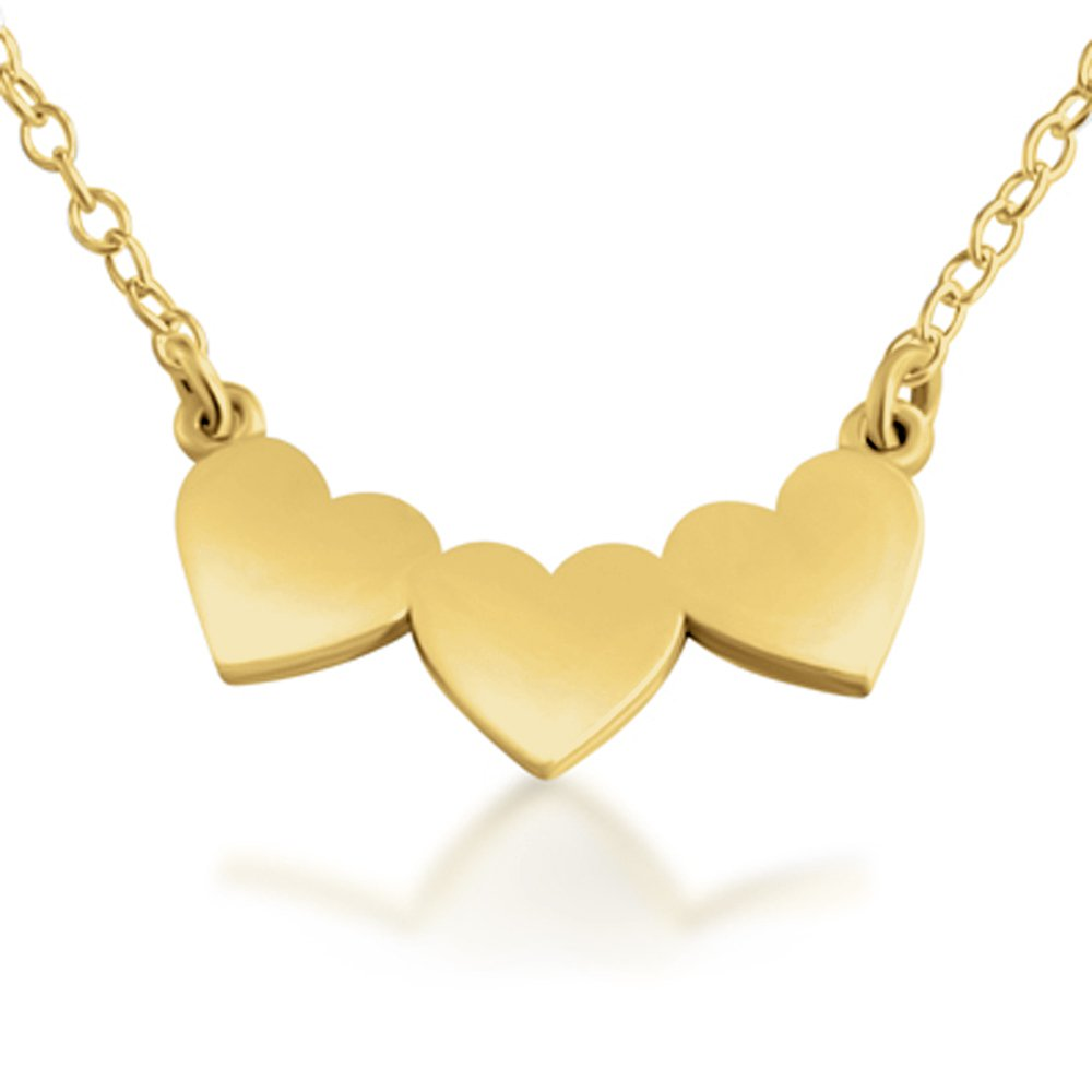Azaggi Gold Plated Silver Necklace Sideways 3 Solid Hearts Past Present Future Love Symbol Romantic Valentines Charm Pendant Necklace.This Necklace is the Perfect Jewelry Gift for Women