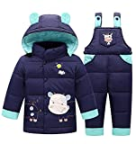 Baby Boys' Girls' Ultralight Cow Pattern Snowsuit Winter Puffer Jacket Two-piece Set (80cm, Dark Blue)