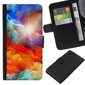 KingStore / Leather Etui en cuir / Sony Xperia Z2 D6502 / Dios Majestic Nubes Sun sueño;