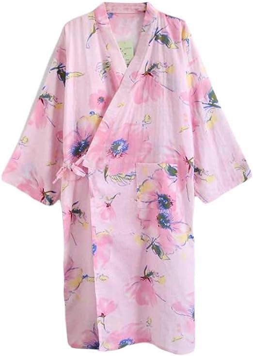 Pigeon Fleet Kimono Albornoz Mujer Algodón Loungewear SPA Bata de baño Pijama de Boda Yukata, Rosa: Amazon.es: Hogar