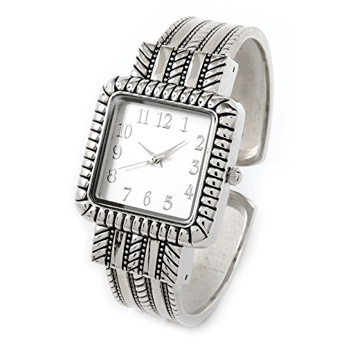 Silver Metal Western Style Decorated Square Face Women's Bangle Cuff (Western Style Bangle Watch)
