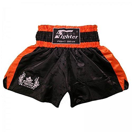 4Fighter Shorts Muay Thai Classic negro-naranja con la 4Fighter logo en la pierna