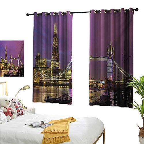 RuppertTextile Blackout Curtains Tower Bridge in London at Night Historical Cultural Monument Europe British Urban 55