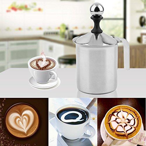 Gugutogo PREUP Nueva marca de gran capacidad de venta de 400cc de acero inoxidable de doble malla Foamer DIY Fancy Coffee Cream leche de vaporizador (Color: ...