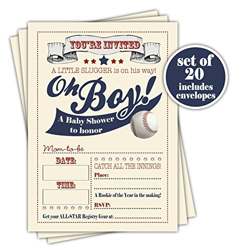 Shower Sports Baby Invitations (Baseball Baby Shower Invitation - Set of 20 with envelopes)