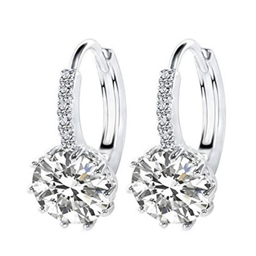 Jiayit Crystals Earrings Studs for Women Girls Teens, Clearance Sale! Zircon Inlaid Earrings Circular Ear Studs Ornament Jewellery (White)