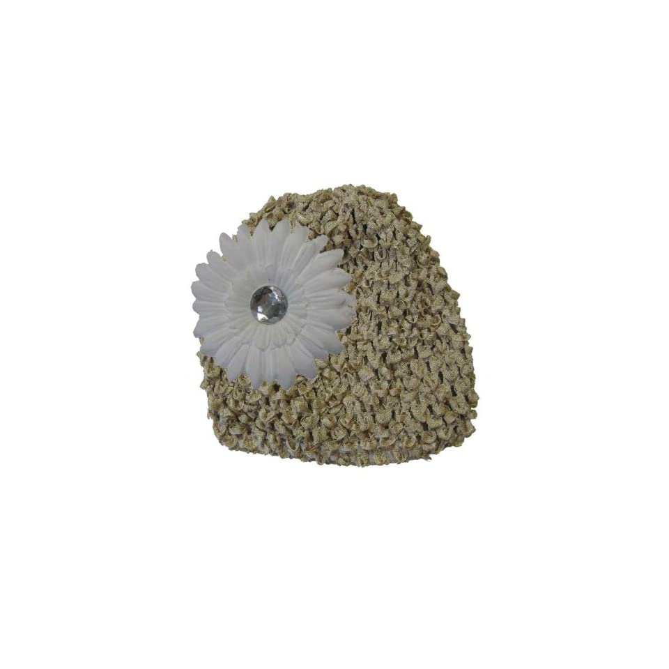 Beige Crochet Hat with White Daisy Flower Clothing