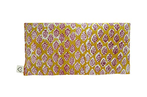 Scented Eye Pillows - Pack of (4) - Soft Cotton 4 x 8.5 - Organic Lavender Flax Seed - hand block print India - leaf blue yellow pink green by Peacegoods (Image #1)