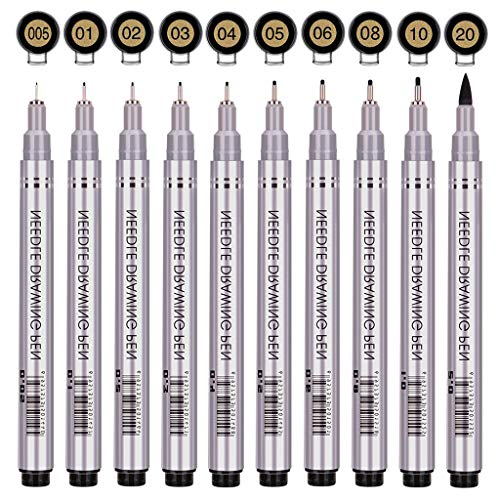 Precision Micro-Line Pens, Fineliner, Multiliner, Waterproof Archival Ink, Artist Illustration, Anime, Sketching, Technical Drawing, Office Documents&Scrapbooking, Manga Pens Writing, 10/Set(Black) ()