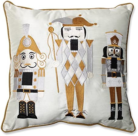 Pillow Perfect Holiday Embroidered Nutcrackers Throw Pillow, 16.5-Inch, Gold Silver